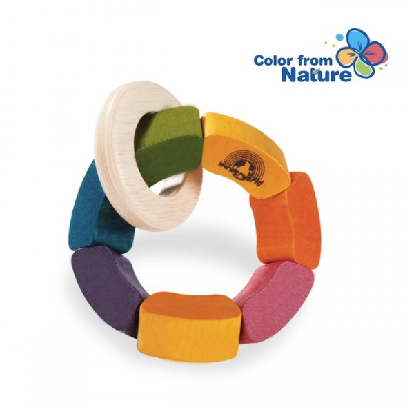 natural wood rainbow rattle