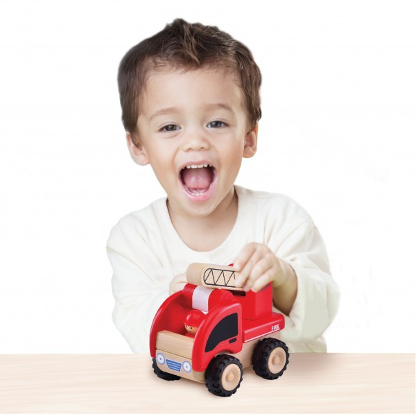 ww-4003-01_Mini Fire Engine_Miniworld_18 month_wooden toys_gift toy_educational toy_quality_kid toy_made in Thailand_Wonderworld toy_eco-friendly_rubberwood